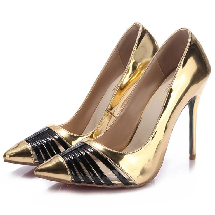 Shoespie Chic Golden Color Patchwork Stiletto Heels