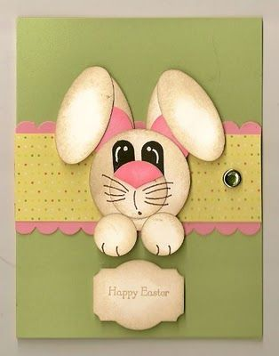 Such a cute Easter card and this site actually gives you a pattern or dimensions on how to make the bunny