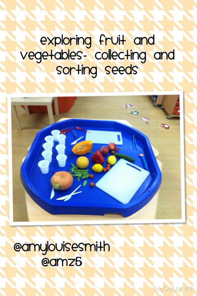 Exploring fruit and vegetables in the tuff spot. Tweezers, spoons and cups to collect and sort seeds. The children planted the seeds they found.