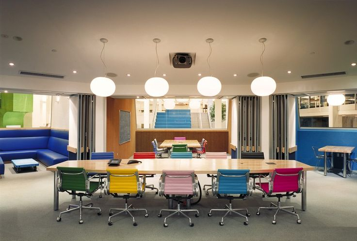 Office interior, colorful chairs, pendant lights, dividable meeting areas #office