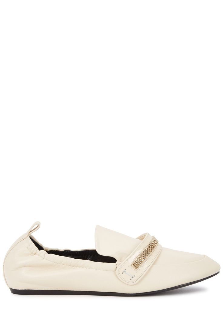 Lanvin cream leather loafers Concealed wedge heel measures approximately 1 inch/ 25mm Gold chain embellishment, elasticated back, heel tab, round toe Slip on Come with a dust bag