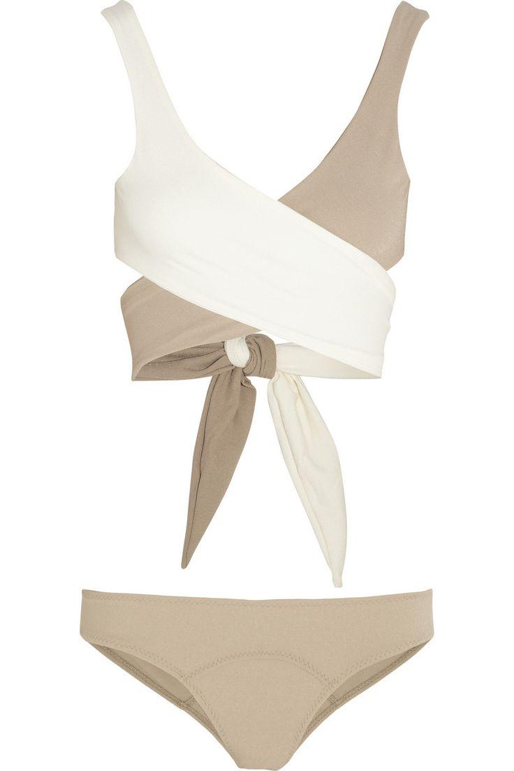 Lisa Marie Fernandez|The Marie-Louise two-tone wrap-around bikini|NET-A-PORTER.COM