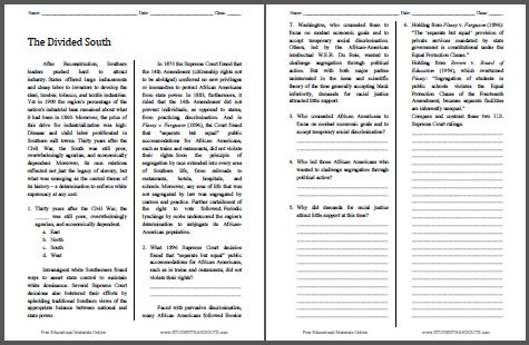 The Divided South - Free Printable American History Reading with Questions for Grades 9-12