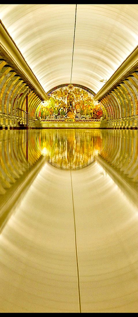 Travelling - Moscow, Russia - Moscow subway  a dazzling yellow especially for the morning worker