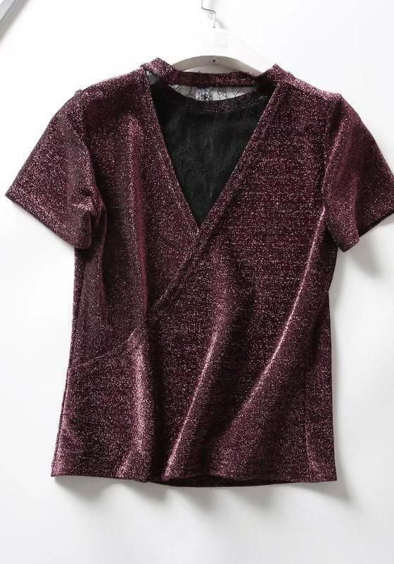 Burgundy Patchwork Lace Bright Wire Multi Way Going out T-Shirt #womensfashiongoingoutraybans