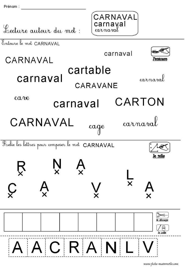 fiche de lecture autour du thème de carnaval en maternelle MS GS