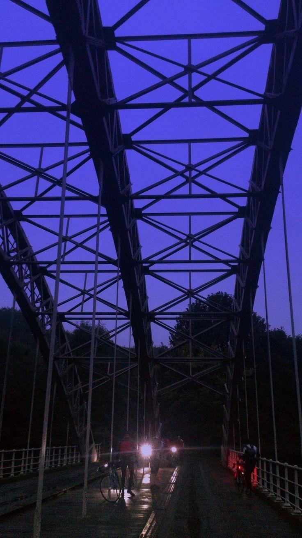 Hagg Bank bridge, River Tyne, night ride Carlisle to Newcastle, 2014