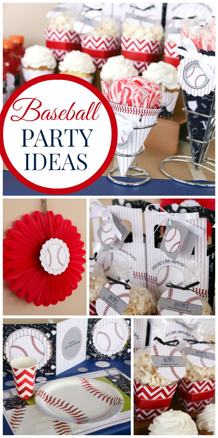 What a great red, white and blue baseball party with chevron accents!  See more party ideas at CatchMyParty.com!