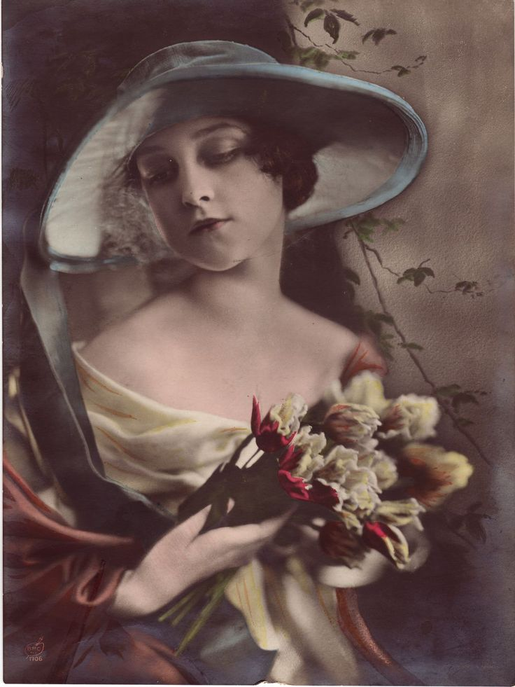 Hand-Tinted Silver Gelatin Photograph of a Young Woman C ...