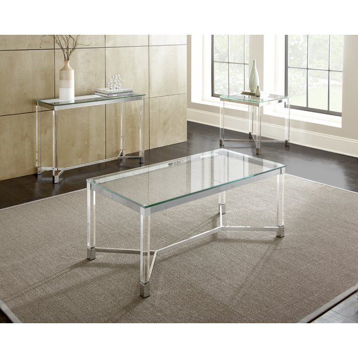 Farmingdale End Table 3 Piece Coffee Table Set Glass Top Coffee