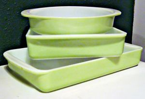 Pyrex Lime 1952-1957 Love it!  I only have the brownie pan!