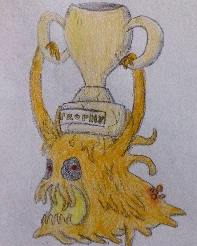 #Repost @lart_aignee  Dessiné le 14/03/17 #or #trophée #trophee #monstre #dessin #gold #trophy #goldtrophy #monster #drow #draw