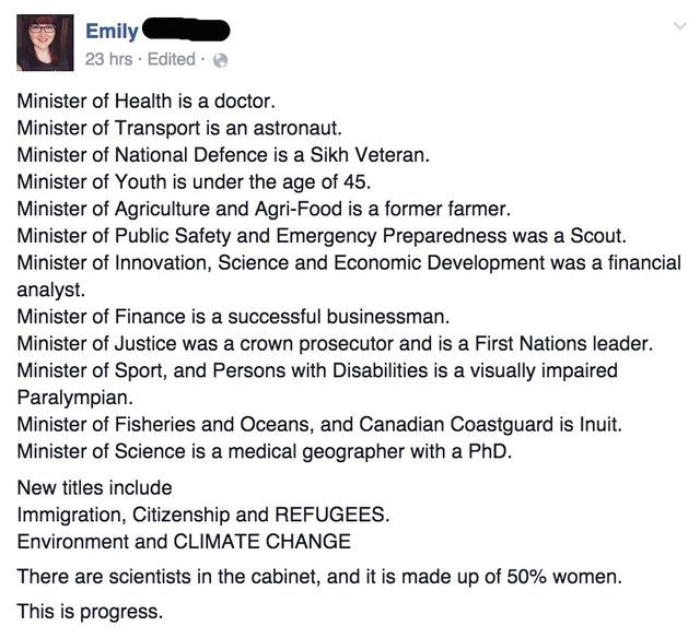 """Justin Trudeau was sworn in as Canada's 23rd Prime Minister yesterday, and released """"a cabinet that looks like Canada"""": When asked why gender equality in his cabinet was important... """"Because its 2015"""" !"""
