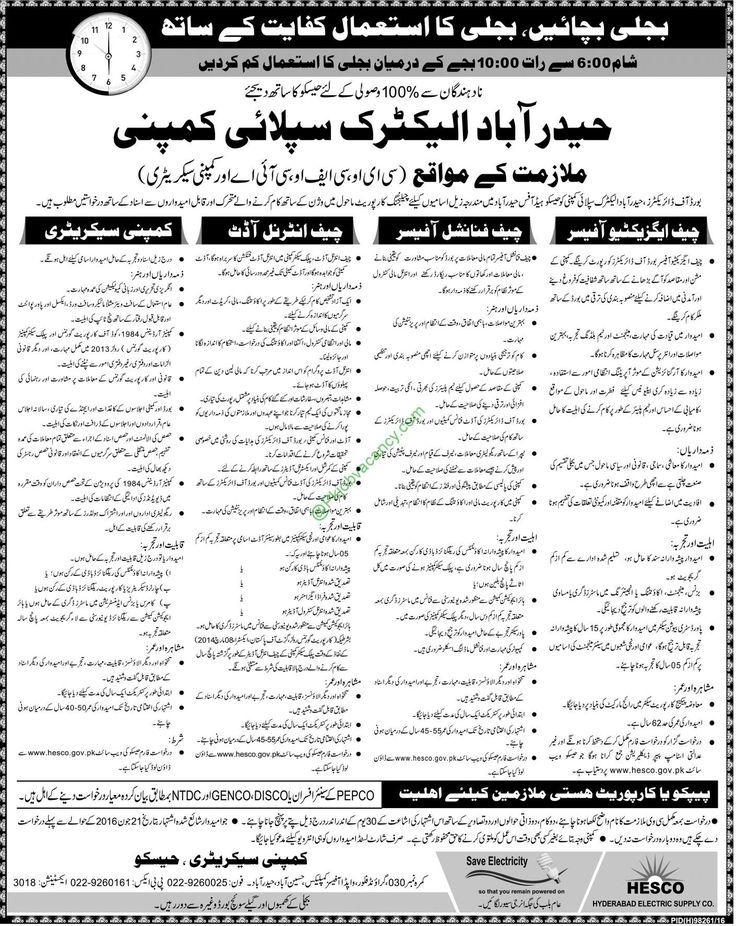 HESCO Hyderabad Electric Supply Company December Jobs 2016 Application Form Download
