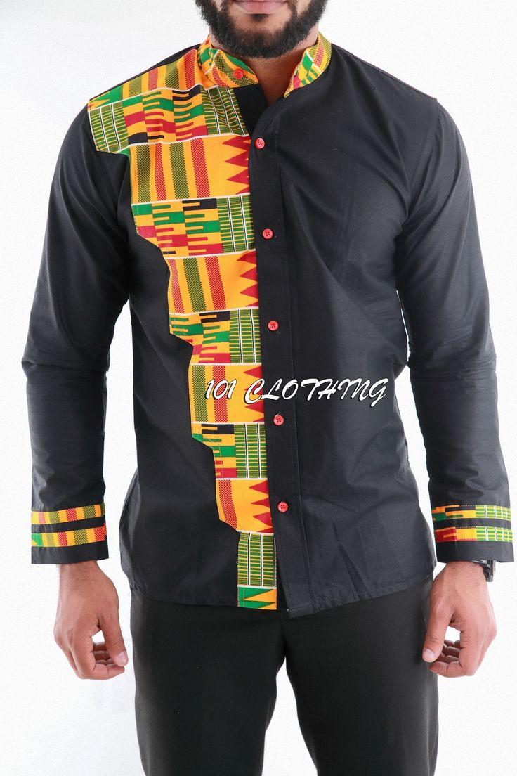 Men shirt with half shaped kente fabric