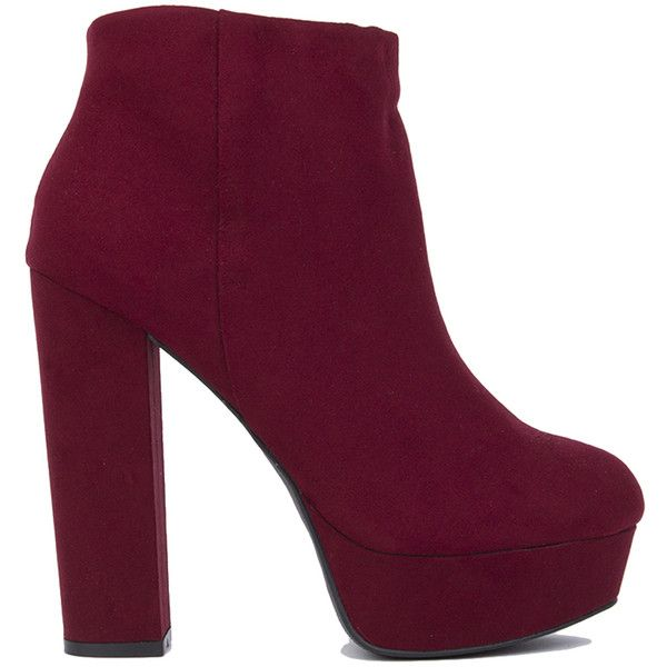 Platform Ankle Boots - Burgundy (€38) ❤ liked on Polyvore featuring shoes, boots, ankle booties, ankle boots, heels, burgundy, heeled booties, short boots, platform ankle boots and chunky heel booties
