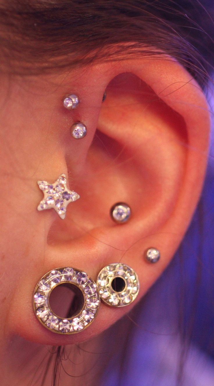 Multiple Unique And Cool Ear Piercings Ideas Silver At Mybodiart   Crystal Star Tragus