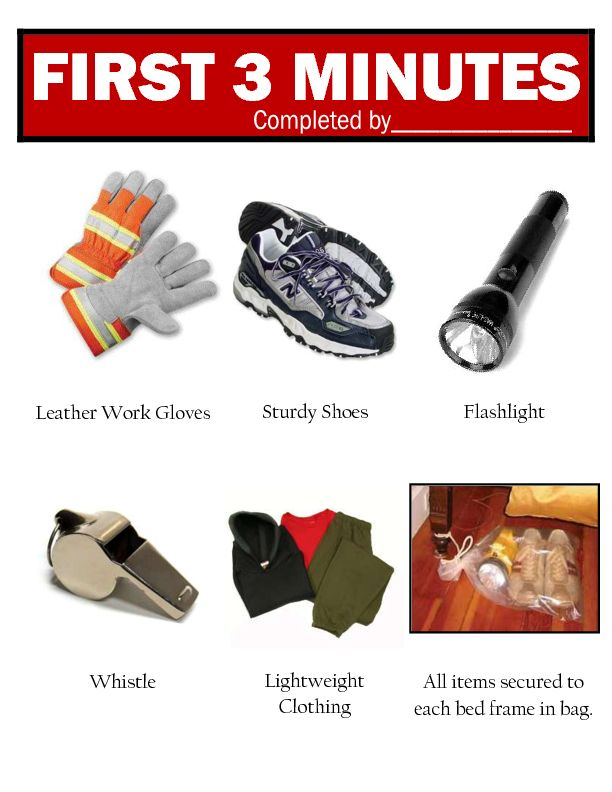 1st 3 minutes Preparedness  Items Needed for disaster or Emergency