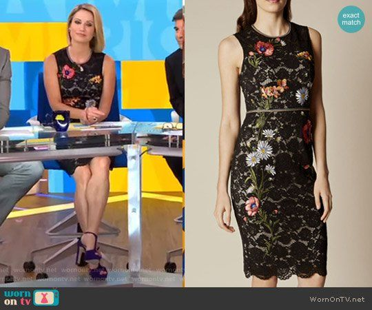 Amy's black embroidered lace dress on Good Morning America.  Outfit Details: https://wornontv.net/71925/ #GoodMorningAmerica