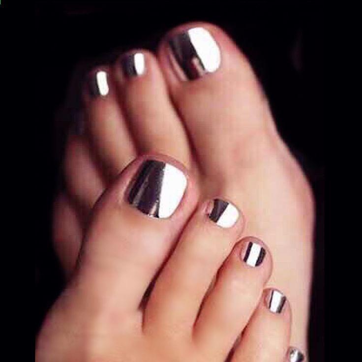 नई 24pcs पंक धातु रजत प्यारा उच्च गुणवत्ता पूर्ण कवर फ्रेंच 3 डी ToeNails पैर कील मैनीक्योर Kawaii फुट झूठी नाखून [टी 13…