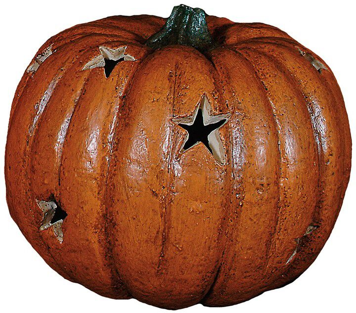 Lighted rustic pumpkin with star cut outs