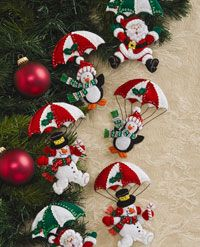"Dropping In Felt Ornaments - Set 6. Approx. size 4.1/2"" x 5"". Dress up your tree, wreaths, gifts and more. Kits include stamped felt, sequins, beads, embroidery floss, needles and step by step instructions."