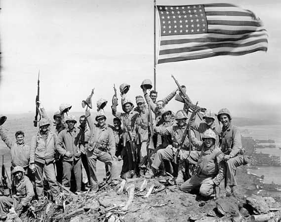 Marines on Mt. Suribachi  -  WWII