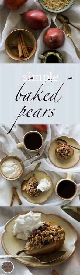Simple, elegant #vegan Baked Pears. #gluten-free, #oil-free. Recipe by An Unrefined Vegan.