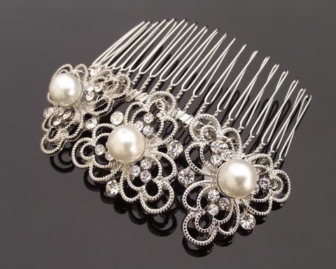 Art Deco Style Pearl & Filigree Bridal Hair Comb, Eve