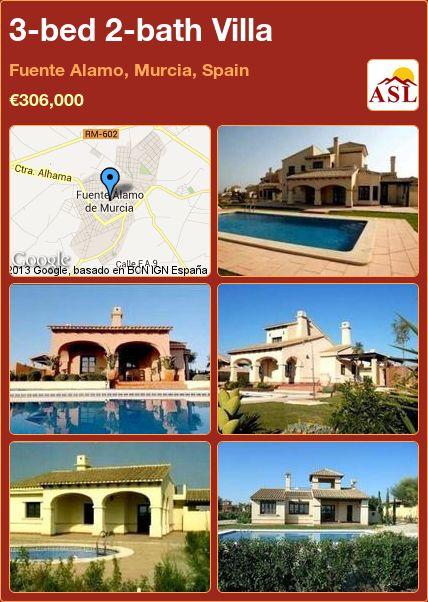 3-bed 2-bath Villa in Fuente Alamo, Murcia, Spain ►€306,000 #PropertyForSaleInSpain