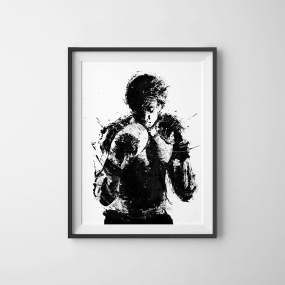 Rocky Movie Poster, Art Print, Black and White Art, Boxing Art, Boxking Poster, Rocky Balboa Poster, Rocky Poster,  A3 11.7 x 16.5 in