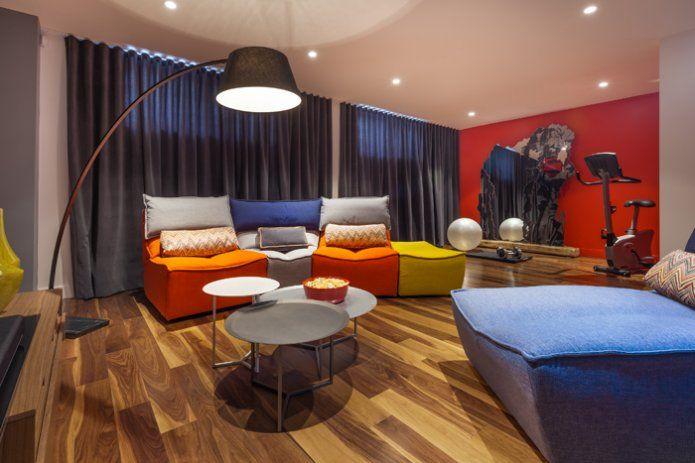 Salle familiale (sous-sol) - Maison Expo HABITAT 2015 réalisée par Corten…