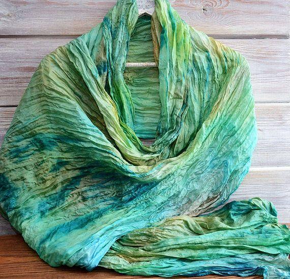 Turquoise gold Hand-painted silk scarf Shibori Unique design