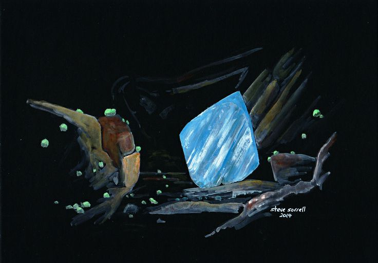 Steve Sorrell Artwork: Chrysocolla pseudomorphing brochantite with arsentsumebite, Reward Mine, Manzanar Station area, Inyo Co., California. Watercolour and gouache on black card.