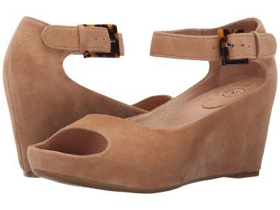 Johnston & Murphy - Tricia Ankle Strap (camel Glove Suede) Women's Wedge Shoes