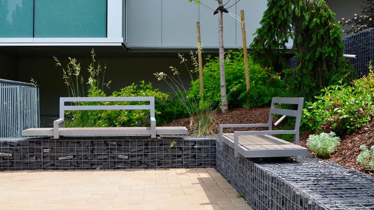 Wishbone #Skyline #Benches, customized for #gabion wall, at Royal Island Hospital in Kamloops BC #landscapearch #sitefurniture #design #bench