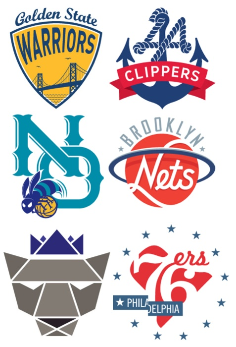 nba logos redesigned as a personal project by michael