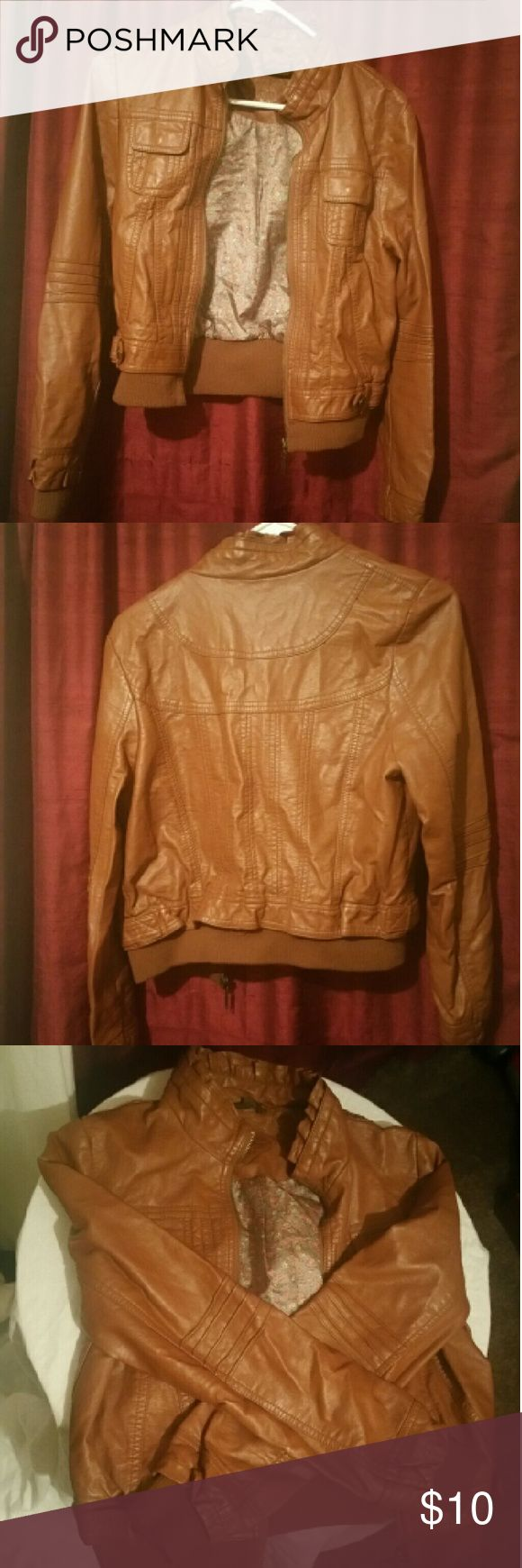 Tan leather jacket Tan short leather jacket. Good condition almost like new! Perfect for fall. Size M Jou Jou Jackets & Coats