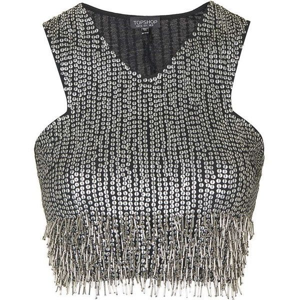 TOPSHOP Sequin Fringed Crop Top (265 RON) ❤ liked on Polyvore featuring tops, topshop, black, black sequin top, topshop tops, sequin top, holiday party tops and night out tops