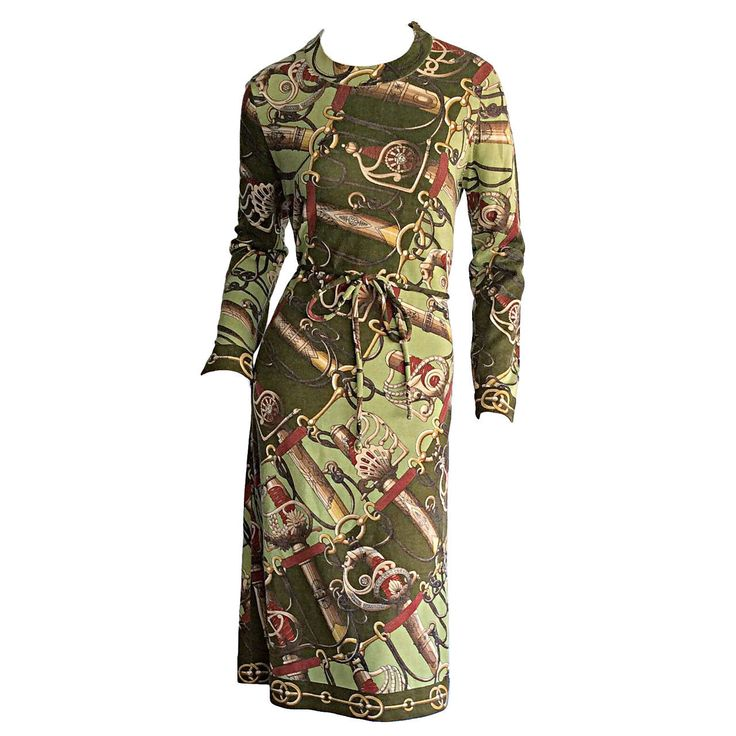 Incredible Vintage Hermes Sweater Dress & Belt | From a collection of rare vintage evening dresses at https://www.1stdibs.com/fashion/clothing/evening-dresses/