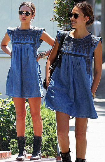 Love Jessica Alba's style - Isabel Marant Denim Dress and chunky boots. Perfect! #IM #sneakers