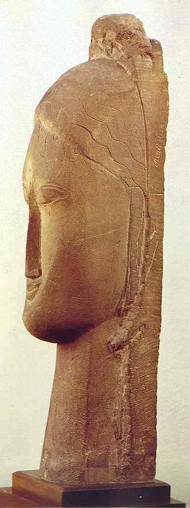Амедео Модильяни. Голова.  1911. Limestone. Height 58 cm. Musees Nationaux, Paris, France.
