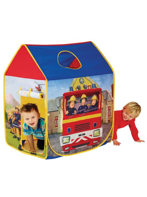 Fireman Sam Pop Up Wendy House Play Tent  Fireman Sam A pop up play tent that pops up and out in seconds Folds compactly for easy storage.  This Fireman Sam Pop Up Wendy House Play Tent pops out in an instant to provide hours of imaginative fun! Little Fireman Sam fans will love the fire themed design with its roll up door and spy hole in the roof. And when it is time for playtime to end, it simply folds compactly away for the night ready to be popped open again the next day.