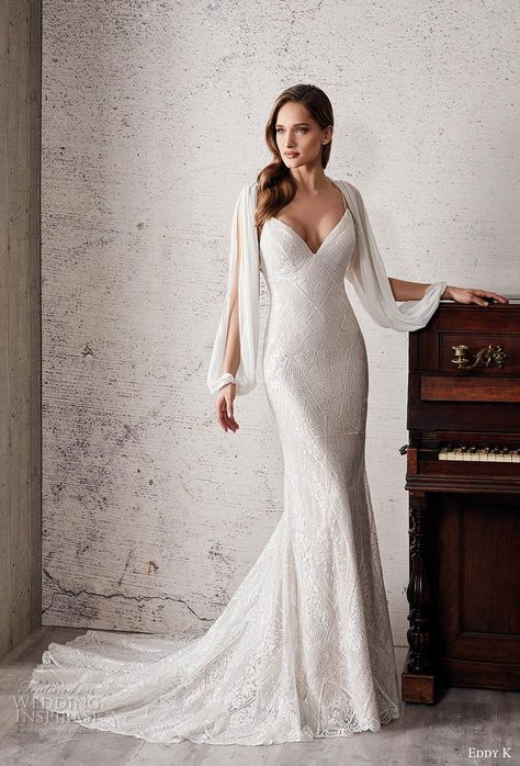 eddy k 2019 couture bridal long hanging sleeves spaghetti strap diamond neck ful…