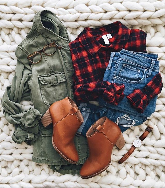 Easy casual fall style // plaid plus cognac booties // denim olive green jacket