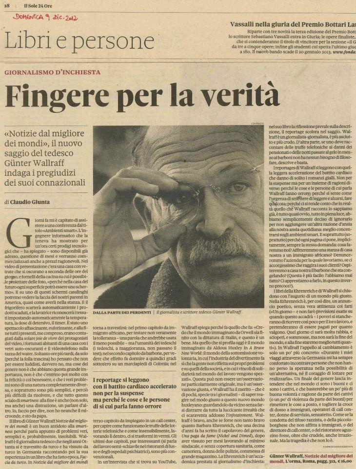 Claudio Giunta su «Il Sole 24 Ore» ci regala un bel ritratto di Günter Wallraff.