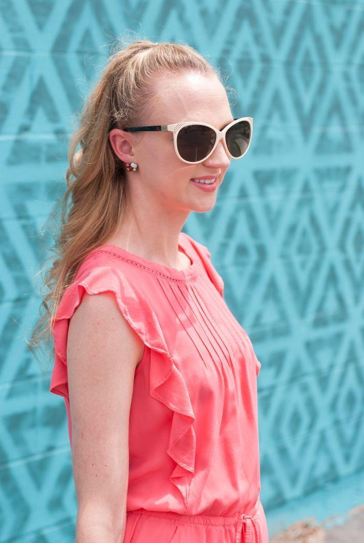 loft coral ruffle romper // cateye sunglasses // multistone earrings // Cheers J