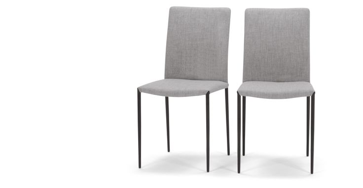 2 x Braga Dining Chairs, Cathedral Grey with Black Powder Coated Legs | made.com