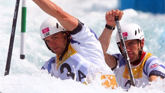 Tim Baillie of Great Britain and his team mate Etienne Stott compete in the mens`s Canoe Double (C2) semi finale on Day 6 of the London 2012 Olympic Games at Lee Valley White Water Centre