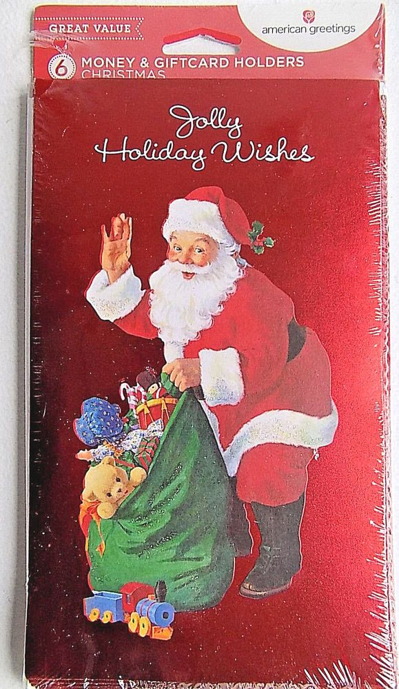 Jolly Holiday Wishes w/ Santa  6 Christmas Money Gift Card Holders & Envelopes #AmericanGreetings #Christmas